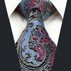 "Extra Long Size 60.6"" 63"" P31 Paisley Blue Pink Mens Necktie Ties Silk Fashion"