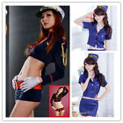 New Women Adult Costume Police Officer Costume Romper Hat Airline Stewardess