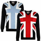 Lambretta Mens Union Jack Jumper Fine Gauge Retro Mod Scooter V Neck New