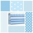 STARS  PALE BLUE & WHITE COTTON FABRIC by the metre EX WIDE NURSERY BOYS FASHION