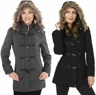 Womens Hooded Parka Coat Faux Fur Trim Toggle Button Wool Blazer Overcoat Jacket