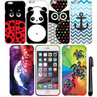 For Apple Iphone 6 Plus 5.5 inch Rubberized PATTERN HARD Case Phone Cover + Pen