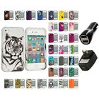 For Apple iPhone 4 4S Hard Design Case Cover Accessory 2X 2A Chargers