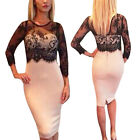 Sexy Ladies Lace Crochet Prom Slim Bodycon Cocktail Evening Pencil Party Dress