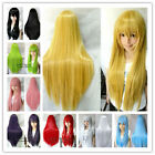 1x Multi-color 80cm Women Long Straight Wigs Cosplay Costume Full Wig Hot