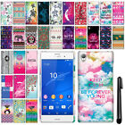 For Sony Xperia Z3 Cute Design PATTERN HARD Case Back Phone Cover + Pen