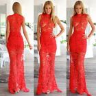 Sexy Women Lady Lace Prom Sleeveless Long Formal Evening Dress 1pc