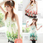 Sexy Women Elastic Waist Tunic Chiffon Casual Blouse Floral Prints Strap Dress