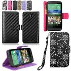 For HTC Desire 510 / 610 Pu Leather Wallet Pocket Card Slots Case Cover W/Strap