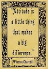 A4 Parchment Poster Quotation Churchill - Attitude -  or Greeting Card Option