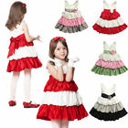 Girls Princess Party Bow Stripped 2-7Y Kids Tutu Wedding Dress Toddlers Clothing