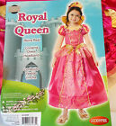 Royal Queen Pink Gold Child Costume Dress Headdband Medium Large NIP