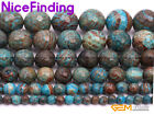 """Blue Crazy Lace Agate Stone Beads Jewelry Making Bracelet Round Faceted Dyed 15"""""""