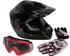 Youth Black Pink Butterfly Motocross Dirt Bike MX Helmet + Goggles/Gloves ~S M L