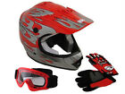Youth Red Flame Motocross Dirt Bike Off-Road ATV Helmet+Goggles/Gloves~S, M, L