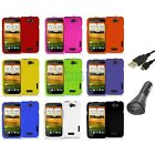 Color Hard Snap-On Rubberized Case Cover Accessory+Charger+USB for HTC One X/XL
