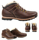 MENS BOYS CASUAL FUR LINED LACE UP WINTER ANKLE BROWN BOOTS SHOES SIZE