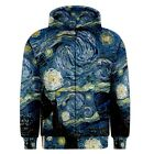 Van Gogh Starry Night Sublimated Sublimation Zipper Hoodie S,M,L,XL,2XL,3XL