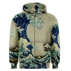 Great Wave off Kanagawa Sublimated Sublimation Zipper Hoodie S,M,L,XL,2XL,3XL
