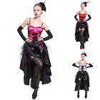 Moulin Rouge Burlesque Fancy Dress Costume Saloon Girl Dance Outfit Hat & Glove