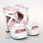 #8025W KERA Punk Gothic Sweet DOLLY Lolita BOOTS Shoes 5.5-11, 34-44 7.5cm heel