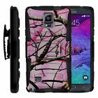 For Samsung Galaxy Phones Heavy Duty Hybrid Case Cover Clip Holster Pink Camo