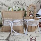 Burlap Lace Wedding Ring Pillow Flower Basket Guest Book Pen Set Garter Kit Pick