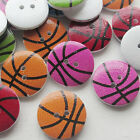 New 50/250pcs Basketball Wood Buttons 20mm Sewing Craft Mix Lots T0736