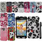 For Kyocera Hydro EDGE C5215 DIAMOND BLING CRYSTAL HARD Case Phone Cover + Pen