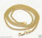 """2mm Solid Miami Cuban Curb Link Chain Necklace Real 14K Yellow Gold 16"""" thru 24"""""""
