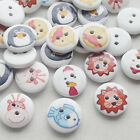 New 100/500pcs Carton Animal Wood Buttons 15mm Sewing Craft Mix Lots T0715