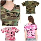 New! Rothco Womens Short Sleeve V-Neck T-Shirt in Pink and Woodland Camo R8066
