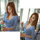 Hot sale  Stripe Sexy Tight Long Sleeve T-shirt Fashion Tops Blouse US HF
