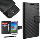 Flip Wallet Case For Nokia Motorola Phone PU Leather Cover Carbon Fiber BK +TPU