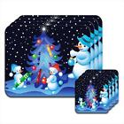 Snowman Family Decorating Xmas Tree Wooden Coaster & Placemat Set