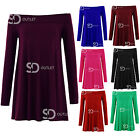 AL75 Womens Ladies Plain Off The Shoulder Long Sleeve Flared Swing Skater Dress