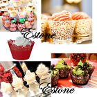 12pcs Vintage Style Paper Hollow Out Cake Wrapper Cupcake Wedding Decor Supplies