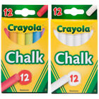 Crayola 12 Anti Dust Chalk Choice of White or Assorted Colours One Supplied NEW