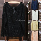 Romantic Open Back Bow Knit Jumper Sleeve Sweater Pullover Top One Size
