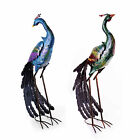 Large Coloured Metal Standing Peacock Garden Ornament / Sculpture Two Designs