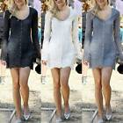 UK 2015 Ladies Sexy Lace Long Sleeve Buttons Slim Tops T Shirt Blouse Mini Dress