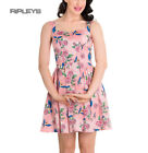 HELL BUNNY Mini Dress LACEY Birds/Roses Summer Dusty Pink All Sizes