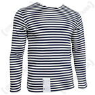 Genuine RUSSIAN Navy Blue Striped T-Shirt SAILOR Long Sleeve Naval Top All Sizes