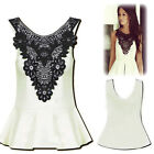 New Fashion Ladies Women Lace Splice Blouse Sleeveless Shirt Doll Tops Vogue