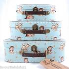 VINTAGE BLUE RETRO CATS SUITCASES - SET OF 3 or SINGLE - GIFT STORAGE SUITCASE