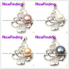Freshwater Pearl Necklace Pendant  White Gold Plated Frame 10-11mm Color Pink
