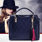 Fashion Women Faux Leather Shoulder Bag Tote Handbags Quilted Tassels Bag Purse
