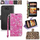 For ZTE Speed N9130 Boost Mobile Pu Leather Wallet Card Slot Pocket Case W/Strap