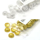 100 Big 12mm Fancy Filigree Domed Spacer Bead End Accent Caps Plated Brass Metal