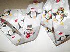 Wintry Snowman & Penguins Snowflake Christmas - Luxury Wire Edge Edged Ribbon